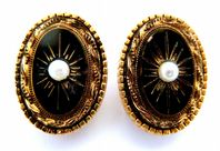 Vintage Sphinx Victorian Revival Style Clip On Earrings.